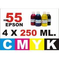 Epson 55, 55 XL pack 4 botellas 250 ml. CMYK