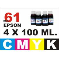Epson 61, 61 XL pack 4 botellas 100 ml. CMYK