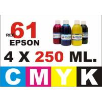 Epson 61, 61 XL pack 4 botellas 250 ml. CMYK
