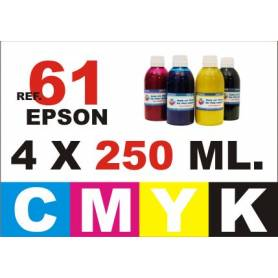 Epson 61, 61 XL pack 4 botellas 250 ml. CMYK