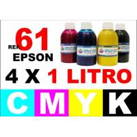 Epson 61, 61 XL pack 4 botellas 1 L. CMYK