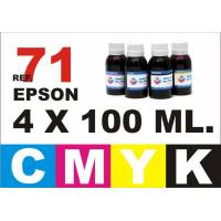 Epson 71, pack 4 botellas 100 ml. CMYK