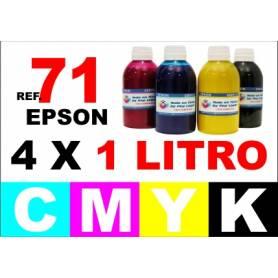 Epson 71, pack 4 botellas 1 L. CMYK