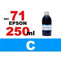 Epson 71, botella 250 ml. tinta cian