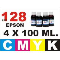 Epson 128, 129, 130 pack 4 botellas 100 ml. CMYK