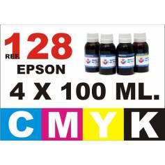 Para cartuchos Epson 128 129 130 pack 4 botellas 100 ml. compatible cmyk
