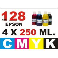 Epson 128, 129, 130 pack 4 botellas 250 ml. CMYK
