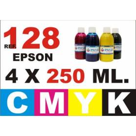 Epson 128, 129, 130 pack 4 botellas 250 ml. CMYK