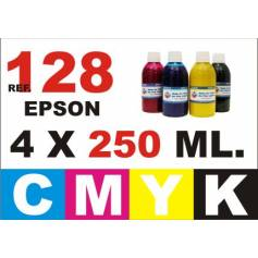 Para cartuchos Epson 128 129 130 pack 4 botellas 250 ml. compatible cmyk