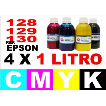 Para cartuchos Epson 128 129 130 pack 4 botellas 1 l. compatible cmyk