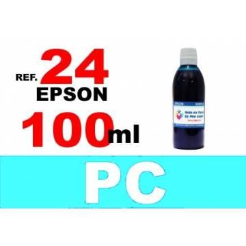 Para cartuchos Epson 24 xl botella 100 ml. tinta compatible cian photo