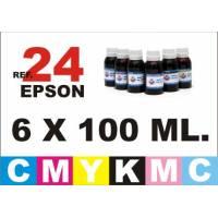 Epson 24 XL pack 6 botellas 100 ml. CMYKpCpM