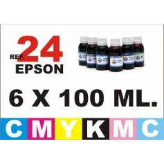 Para cartuchos Epson 24 xl pack 6 botellas 100 ml. tinta compatible cmykpcpm
