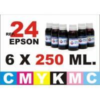 Epson 24 XL pack 6 botellas 250 ml. CMYKpCpM