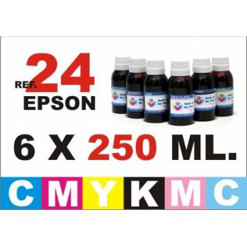 Para cartuchos Epson 24 xl pack 6 botellas 250 ml. tinta compatible cmykpcpm