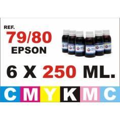 Para cartuchos Epson 79, 80 y 378 pack 6 botellas 250 ml. compatible cmykpcpm