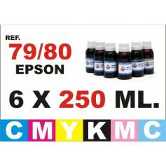 Para cartuchos Epson 79 y 80 pack 6 botellas 250 ml. compatible cmykpcpm