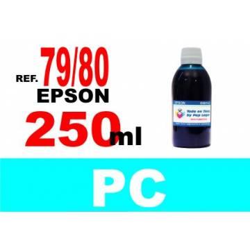 Para cartuchos Epson 79 y 80 botella 250 ml. tinta compatible cian photo