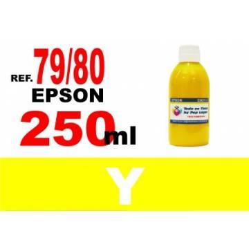 Para cartuchos Epson 79 y 80 botella 250 ml. tinta compatible amarilla