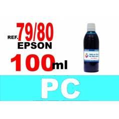 Para cartuchos Epson 79, 80 y 378 botella 100 ml. tinta compatible cian photo