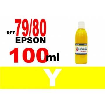 Para cartuchos Epson 79 y 80 botella 100 ml. tinta compatible amarilla