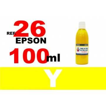 Para cartuchos Epson 26 xl botella 100 ml. tinta compatible amarilla