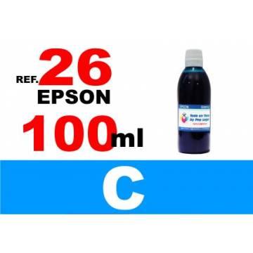 Para cartuchos Epson 26 xl botella 100 ml. tinta compatible cian