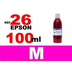 Para cartuchos Epson 26 xl botella 100 ml. tinta compatible magenta
