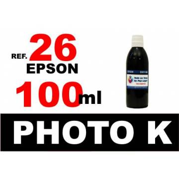 Para cartuchos Epson 26 xl botella 100 ml. tinta compatible negra photo