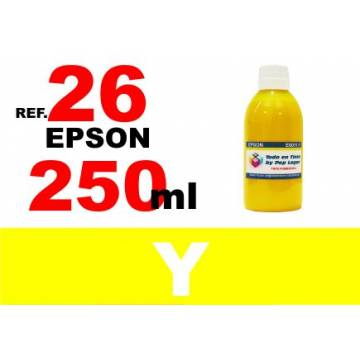Para cartuchos Epson 26 xl botella 250 ml. tinta compatible amarilla