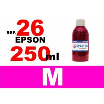 Para cartuchos Epson 26 xl botella 250 ml. tinta compatible magenta