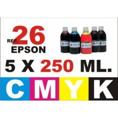 Para cartuchos Epson 26 xl pack 5 botellas 250 ml. compatible cmyk