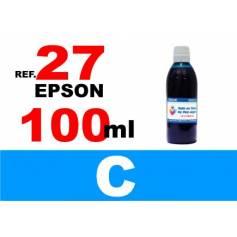 Para cartuchos Epson 27 botella 100 ml. tinta compatible cian