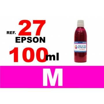Para cartuchos Epson 27 botella 100 ml. tinta compatible magenta