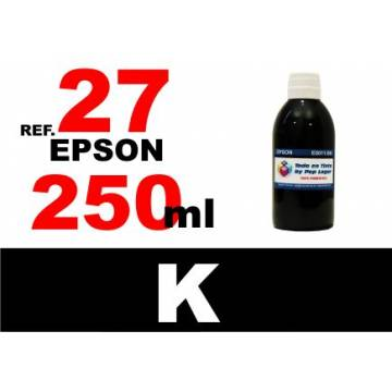 Para cartuchos Epson 27 botella 250 ml. tinta compatible negra