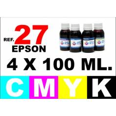 Para cartuchos Epson 27 pack 4 botellas 100 ml. compatible cmyk