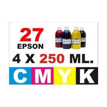 Para cartuchos Epson 27 pack 4 botellas 250 ml. compatible cmyk