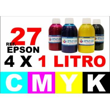 Para cartuchos Epson 27 pack 4 botellas 1 l. compatible cmyk