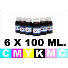 6 botellas de 100 ml. de tinta para Canon ( Bk C Cp M Mp Y )