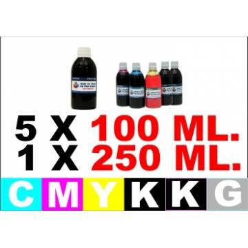 para Canon PG-520 CL-521 5 botellas de tinta K 250 ml. CMYK 100 ml.