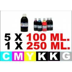 Para Canon pg 550 cl 551 6 botellas de tinta k 250 ml. cmykg 100 ml.
