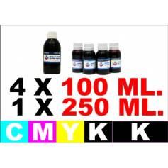 Para Canon pg 550 cl 551 5 botellas de tinta k 250 ml. cmyk 100 ml.)