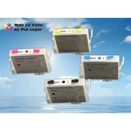 T0551 T0552 T0553 T0554 cartuchos recargables compatibles Epson