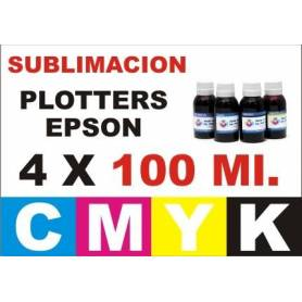 4 botellas 100 ml. de tinta de sublimacion para plotters 42 pulgadas
