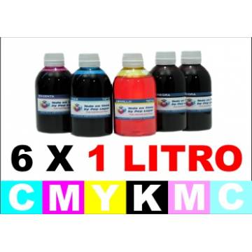 Pack 6 botellas de 1 litro tinta multiuso colorante cmykccmc
