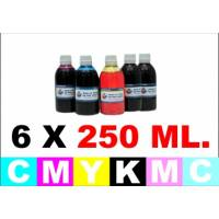 pack 6 botellas de 250 ml. tinta multiuso colorante para Epson cmykCcMc
