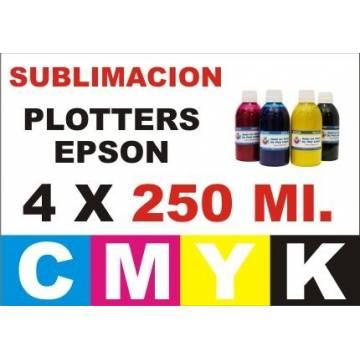 4 botellas 250 ml. de tinta de sublimación para plotters 42 pulgadas