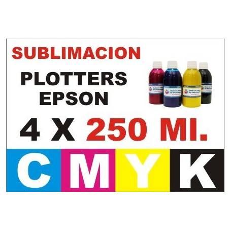 4 botellas 250 ml. de tinta de sublimacion para plotters 42 pulgadas