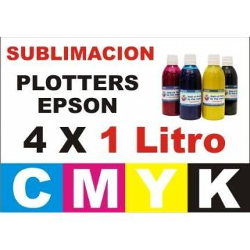 4 botellas 1 litro de tinta de sublimación para plotters 42 pulgadas