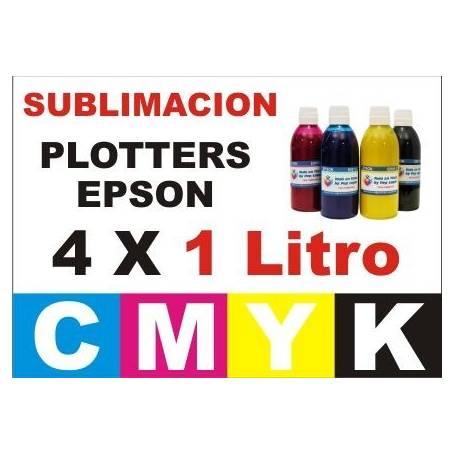 4 botellas 1 Litro de tinta de sublimacion para plotters 42 pulgadas